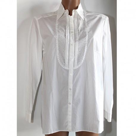 Camicia Penelope cotone bianca donna taglia 50 strass