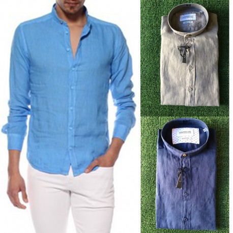 Camicia uomo CA642H HAMAKI-HO lino XL XXL manica lunga blu fango