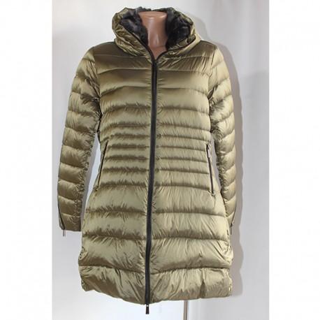 sale retailer 5faae 6b59c Giacca piumino donna verde oliva pelliccia piuma 50 XXL
