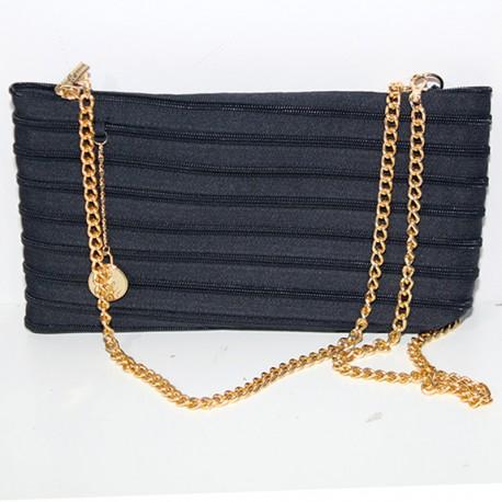 Borsa donna Ghostzip Lady nero catena oro tracolla piccola pochette bustina