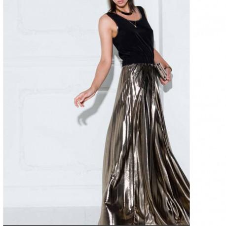reputable site 5b556 e4561 Abito donna Imperfect IW17W50AJ nero lungo plissettato vestito nero bronzo  XS S M
