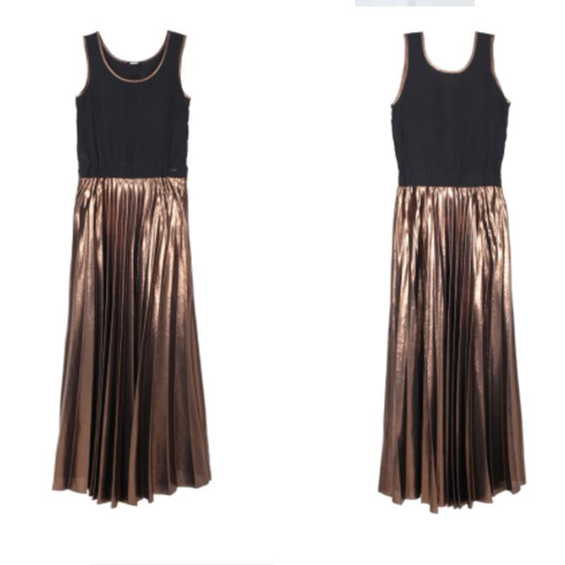 reputable site 53b56 294f1 Abito donna Imperfect IW17W50AJ nero lungo plissettato vestito nero bronzo  XS S M
