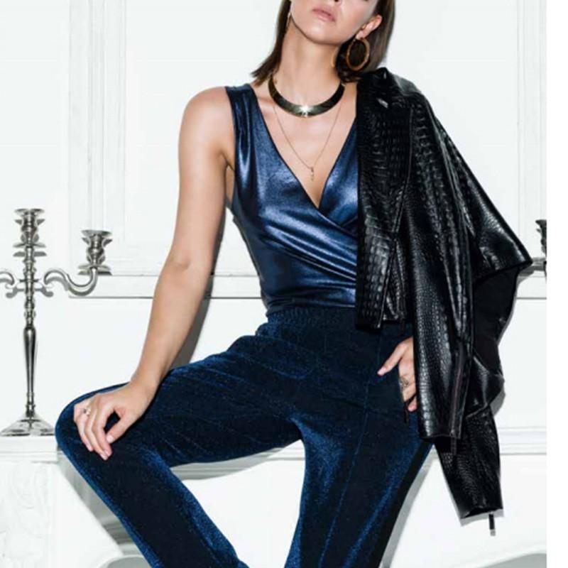 5ab2c47af80b5 Giacca Blazer pelle ecopelle IW17W54BP donna Imperfect nero XS M L
