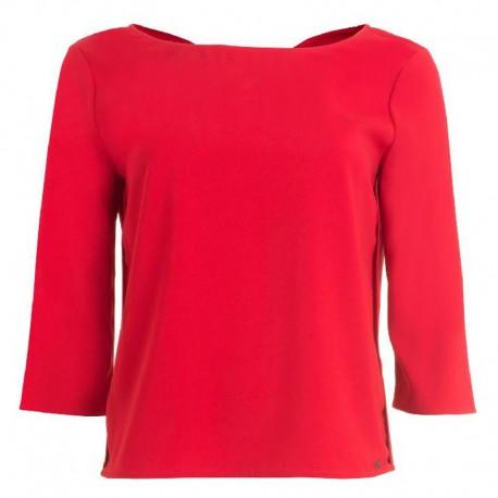 Blusa BIRGOR KOCCA maglia rosso donna manica 3/4 rouche