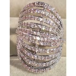 Anello donna misura 16 argento pietre zirconi
