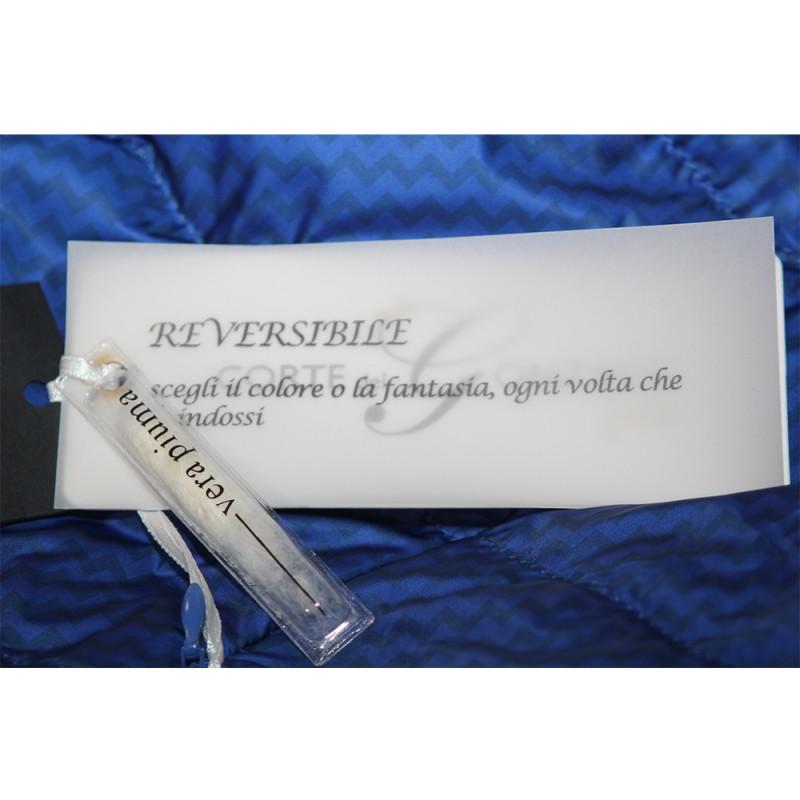 Piumino Corte dei Gonzaga donna Curvy Reversibile blu vera piuma 410ad9effd3d