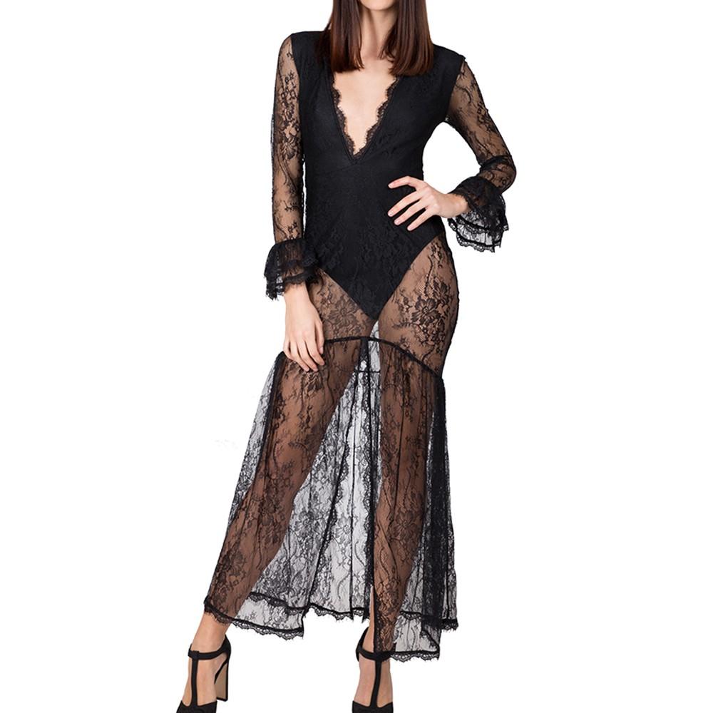 b33e4092a6b48 Vestito lungo donna pizzo nero con body trasparente abito S L
