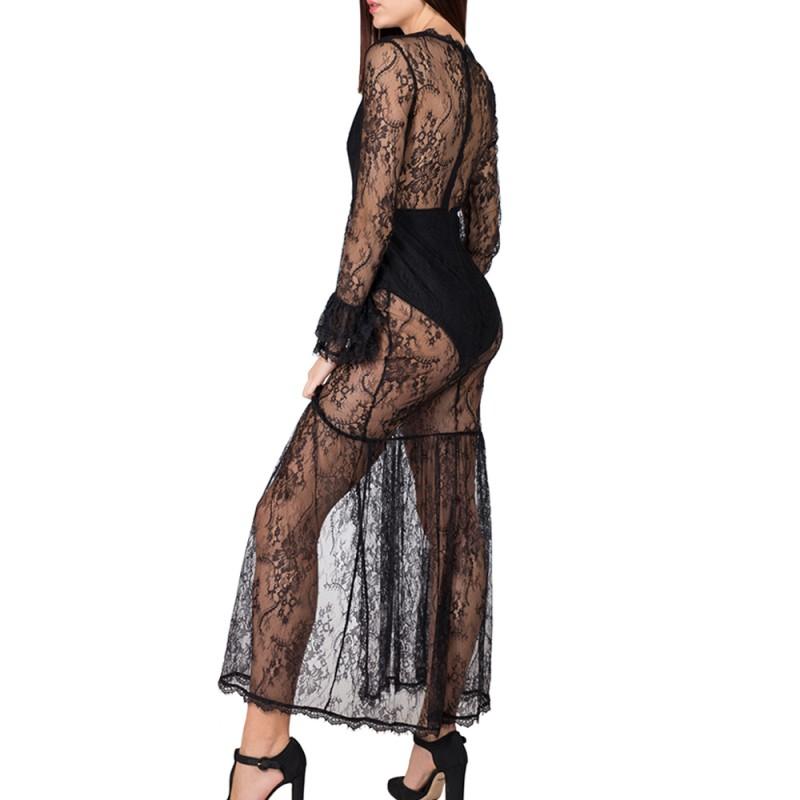 best service 2732c f4170 Vestito lungo donna pizzo nero con body trasparente abito S L