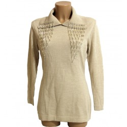 Maglia Beige donna 44 lana con collo vetro murano
