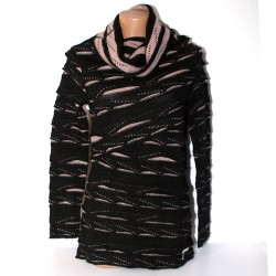 Maglia Le Fate donna  nero rosa lana