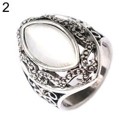 Anello unisex acciaio con pietra bianca misura 8