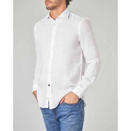 Camicia uomo Alley Docks AU19S02CA Lino azzurro scuro bianco