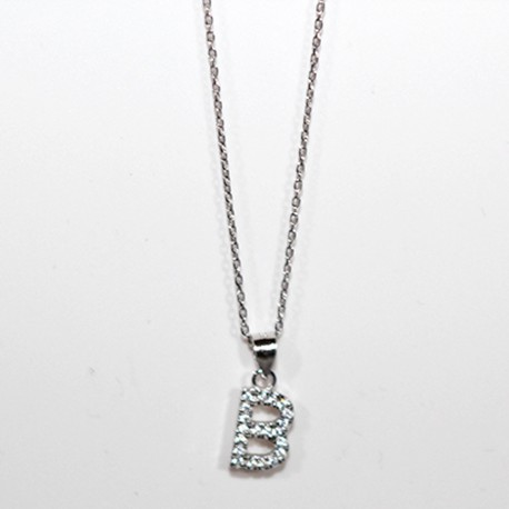 Collana Lettera B iniziale Urania Preziosi Argento 925 zirconi girocollo donna