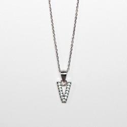 Collana Lettera V iniziale Urania Preziosi Argento 925 zirconi girocollo donna