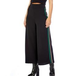 Pantalone J'Aimè 9591 donna vita alta nero bande glitter