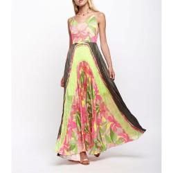 Abito Sfizio 20FE6201405327 plissè vestito lungo fantasia  tropical fluo