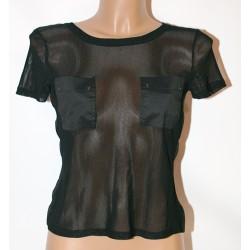 Maglia t shirt donna traforata manica corta nera 44