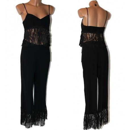 Completo donna nero pantalone + Top TG 42
