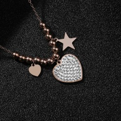 Collana donna  con cuori e stelle pendenti
