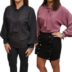 Camicia Blusa donna J'aimè 10481J-BL manica lunga fiocco