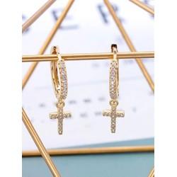 Orecchini cerchietto con croce crystals brillantini incastonati