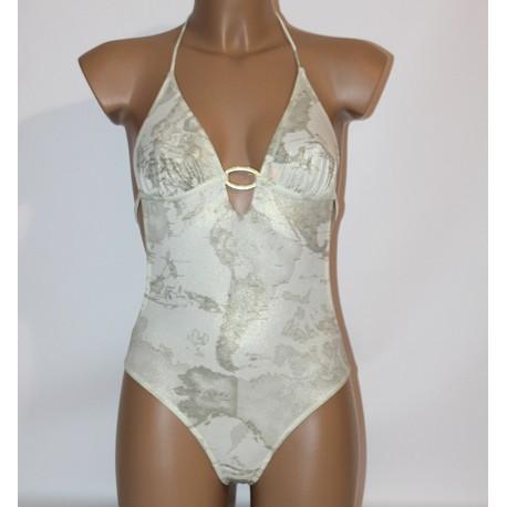 Prima Classe Costume intero bianco grigio oro bikini Alviero Martini