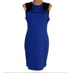 Vestito abito donna Blu con inserti in pelle nera 52 viscosa