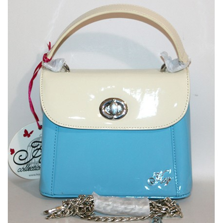 Borsa Hoy Collection celeste bianco con tracolla