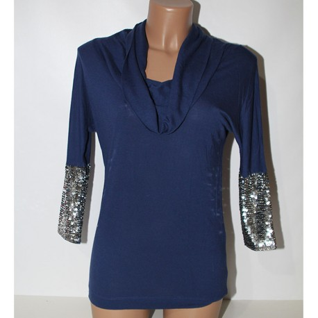 Maglia Pinko blu XS viscosa e lana con paiettes donna