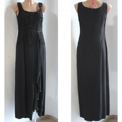 Vestito nero lungo taglia 46 donna viscosa spacco
