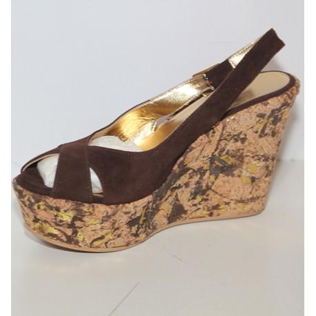 Sandalo zeppa donna Extreme size 36 camoscio marrone