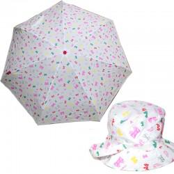 Fiorucci Ombrello piccolo da borsa con cappello pioggia bianco fiocchi