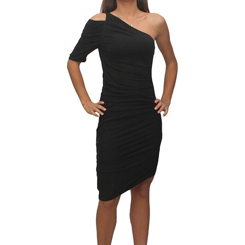 149b54cf1dc7 Abito Met HILARY vestito donna nero MONOSPALLA elasticizzato S