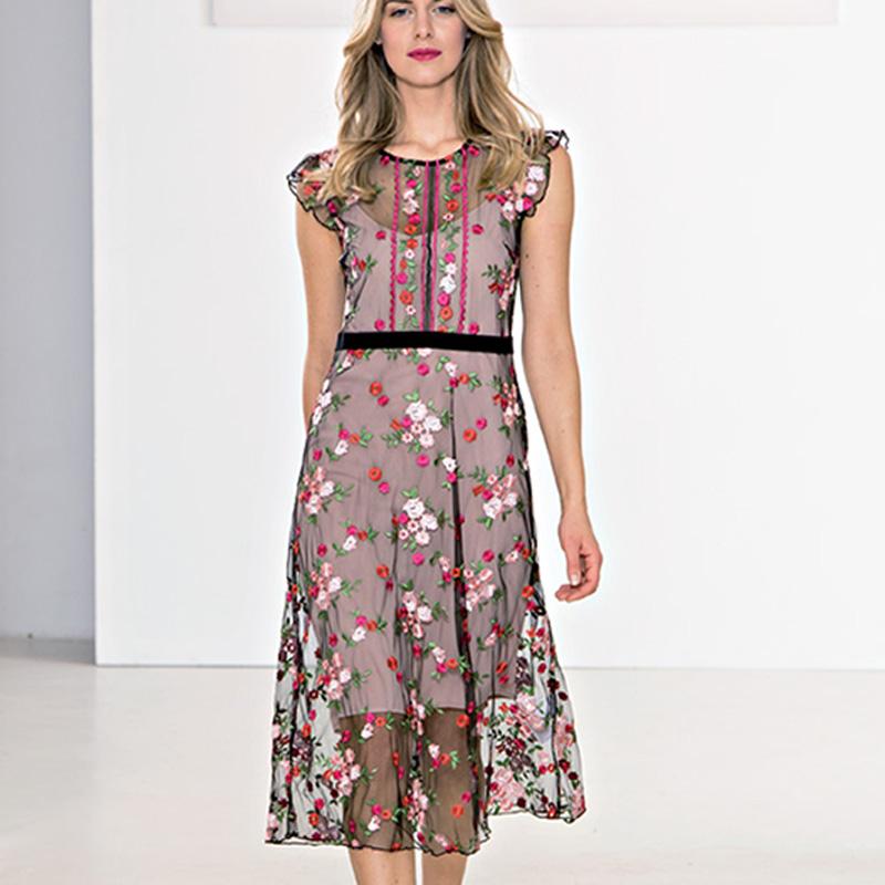 best sneakers 65ffa 9d335 Dettagli su Vestito donna abito Kartika 44 46 fiori tulle nero rosa
